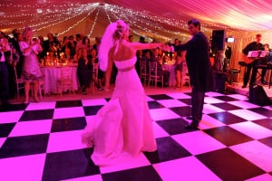 chequered wedding dance floor