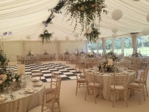 Black & white dance floor marquee wedding Surrey