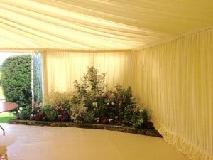 Flower bed marquee wedding