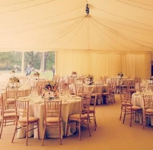 Peach and gold marquee decor