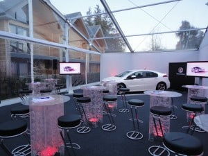 Car launch clear roof marquee