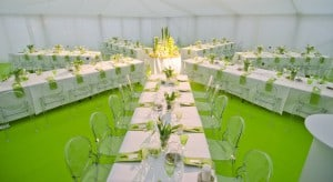 Unusual green marquee wedding decor