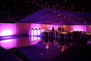 Frame Tent Interior, LED Uplights, Illuminated Bar and Mirrored Dance Floor