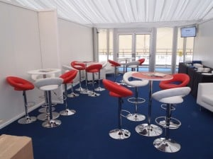 Red, white and navy blue marquee seating