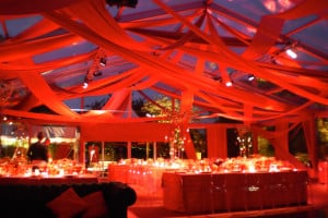 red drape stunning party theme