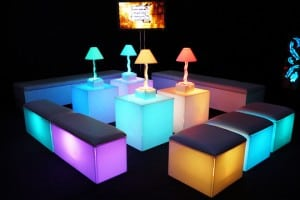 Cube illuminated seating