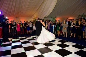 Couple dancing at marquee wedding