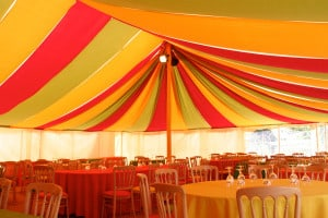 colourful marquee lining