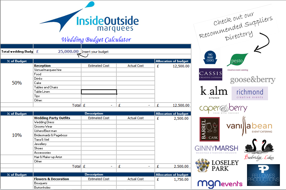 wedding budget calculator image inside outside marquees limited
