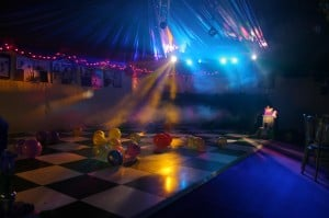 Black and white party marquee dance floor