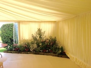 Flower bed marquee wedding