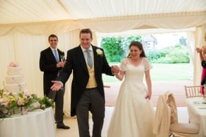 Wedding couple in a marquee