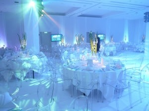 White ghost chair decor for party marquee
