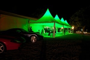 Chinese hats lit up party marquee