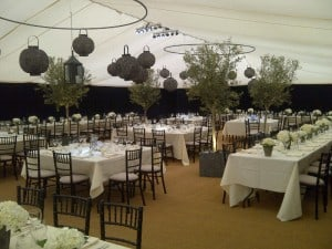 Black, white & grey unusual marquee wedding decor Surrey