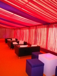 Red lining marquee comfortable seating