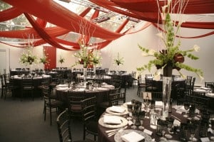 Rust Drapes - Black carpet - Ivory walls marquee wedding Surrey