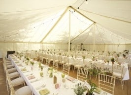 Unlined Trad with long Tables for classic marquee wedding Surrey