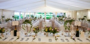 Top table view at marquee wedding surrey