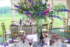 floral arrangements in marquees
