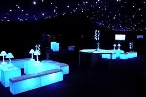 Illuminated cube marquee seating