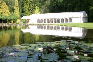 Lakeside wedding marquee