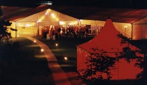 15M Frame Tent at Night