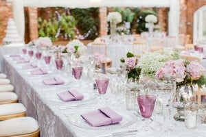 Pink marquee decor table