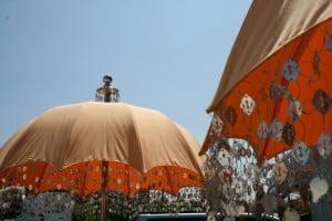 Apricot parasol bali wedding