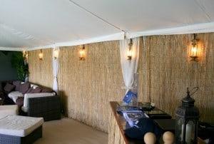 Bamboo wall marquee wedding