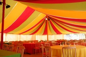 70's bright circus party marquee