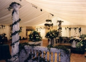 Floral ivory marquee pillar