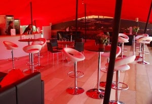 Red marquee seating