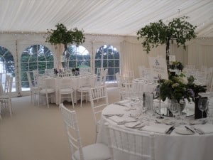 Classic white marquee with trees