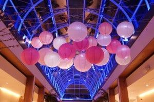 hanging lanterns in pink