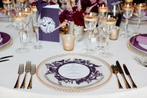 Purple marquee table setting
