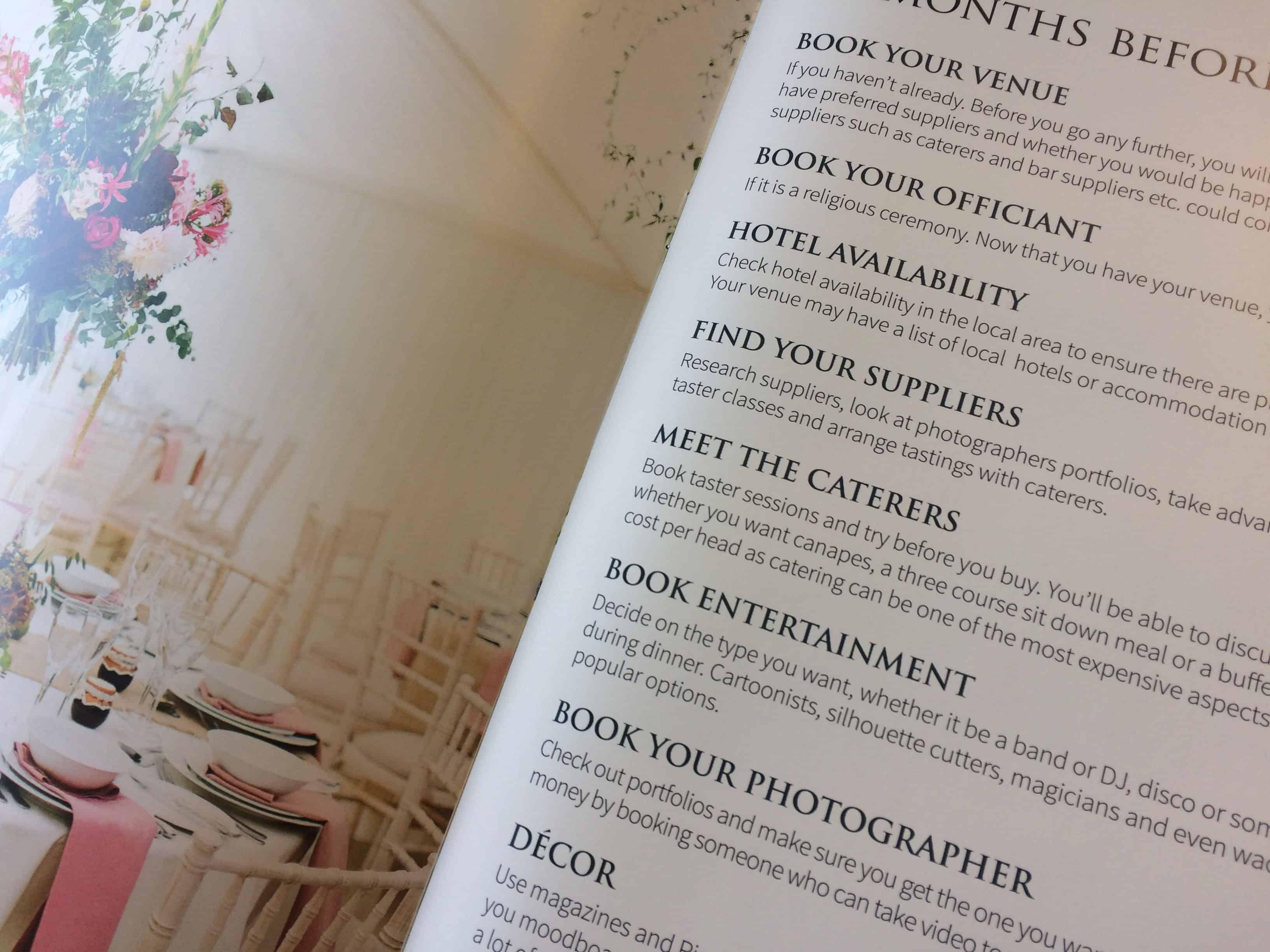 Planning a wedding: Wedding checklist