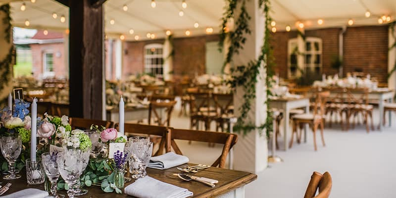 Wedding marquee hire: Inside a decorated wedding marquee