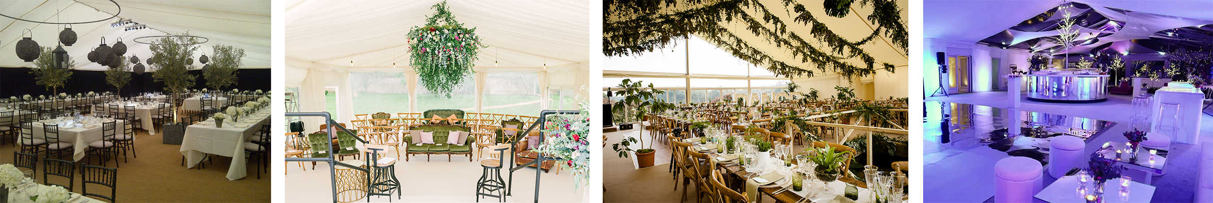 Wedding marquee hire: Different interior marquee decor images