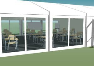 temporary classroom marquees COVID and marquee hire